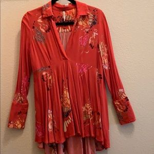 Free people long sleeve tunic blouse, S